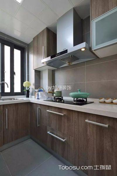 厨房咖啡色橱柜简单风格装潢设计图片