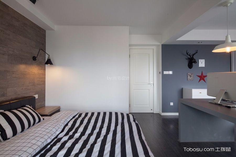卧室咖啡色背景墙北欧风格装修设计图片图片