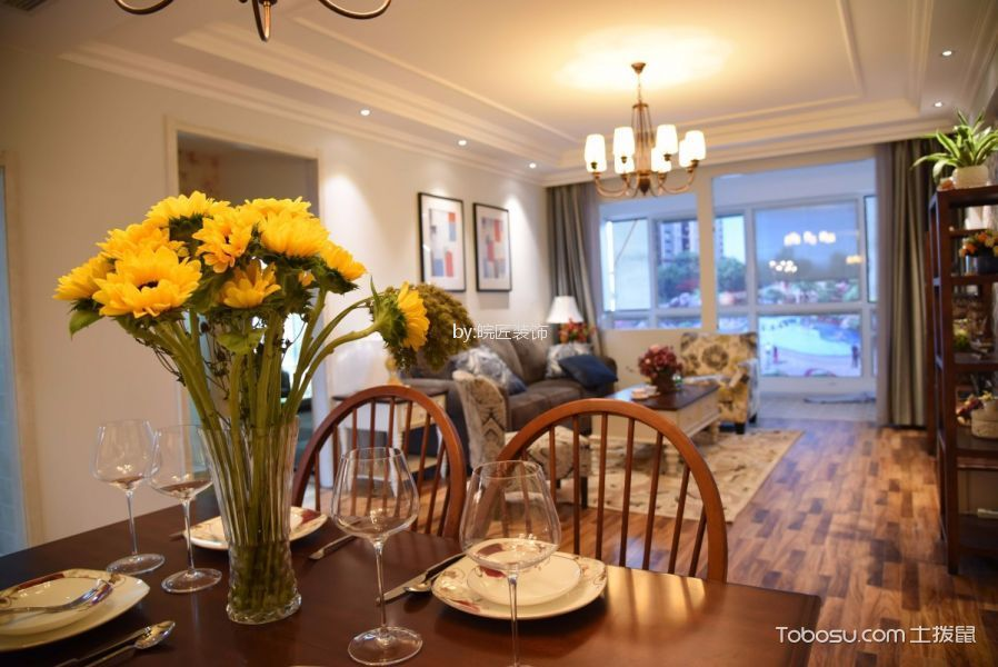 餐厅白色细节美式风格装潢效果图