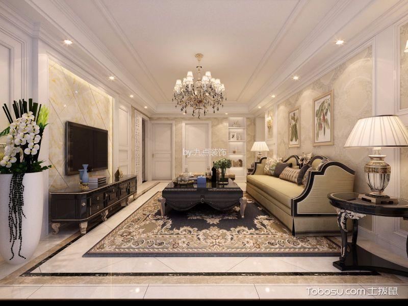 客厅彩色地砖简欧风格装潢图片