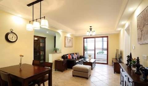 客厅推拉门美式风格装潢设计图片