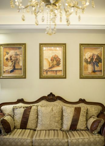 客厅背景墙田园风格装潢图片