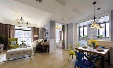 120平现代美式三居室效果图