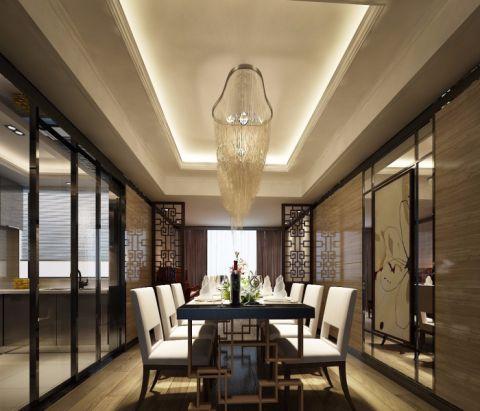 蓝湾国际新中式三居室效果图