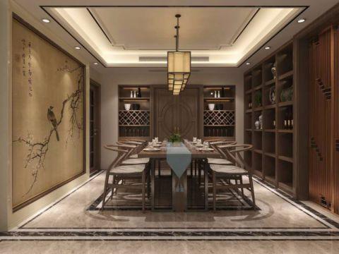 餐厅背景墙中式风格装修设计图片