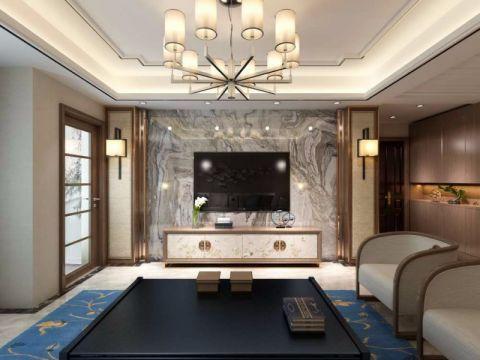 客厅电视柜中式风格装潢设计图片