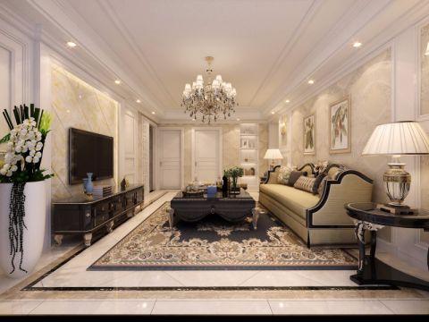 客厅地砖简欧风格装潢图片