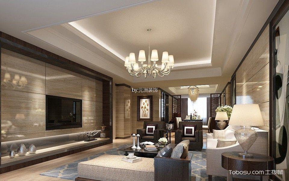 客厅吊顶新中式风格装潢效果图图片