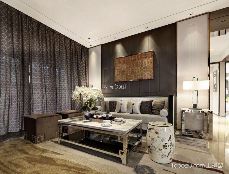华润国际社区新中式风格三居室装修效果图
