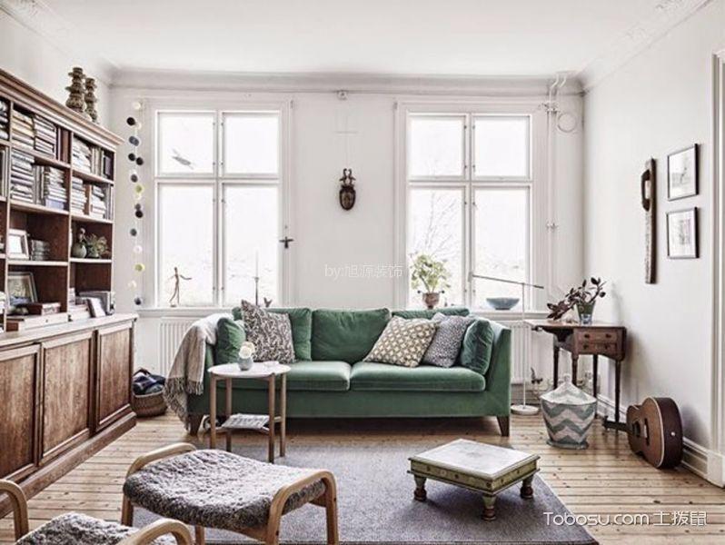 客厅白色窗台北欧风格装潢设计图片