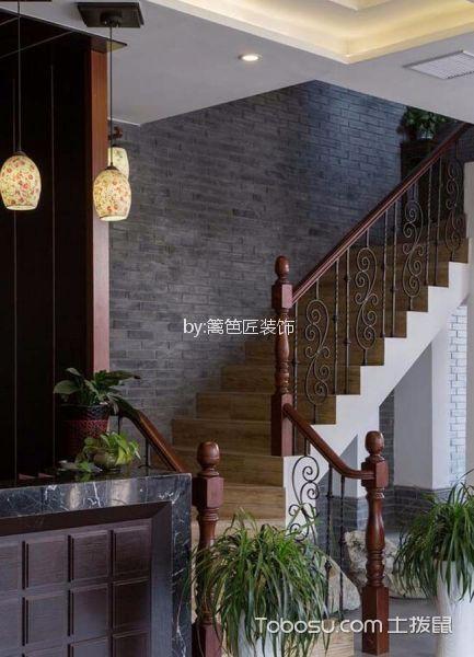 500平米中式风酒店楼梯设计效果图