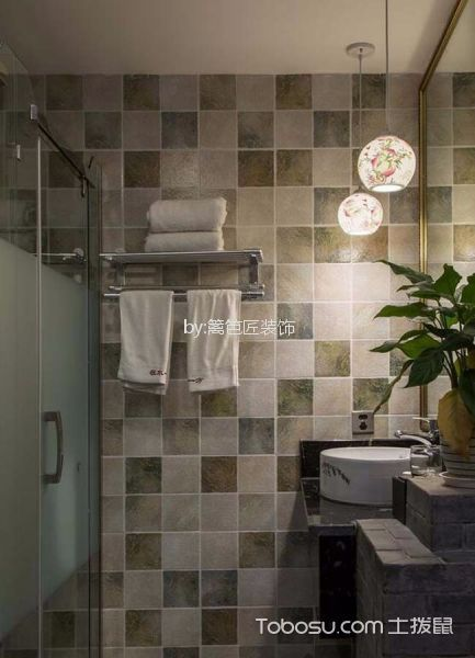 500平米中式风酒店卫生间装修实景图