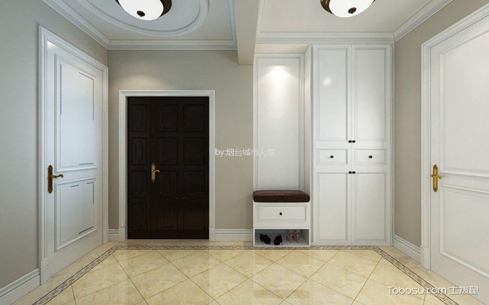 玄关白色鞋柜美式风格装饰图片