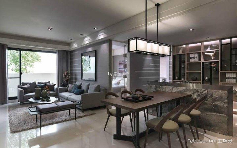 100㎡现代简约风格两居室效果图