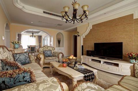 红玺台128平欧式风格三居室装修效果图