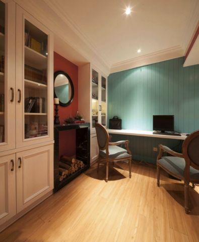 书房背景墙美式风格装潢图片