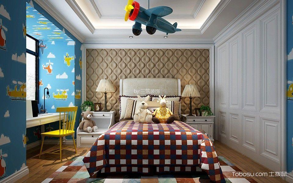 儿童房白色书桌简欧风格装饰效果图