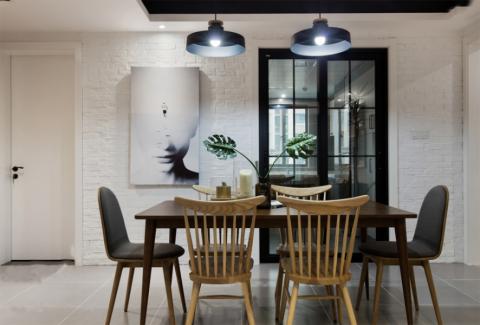 餐厅吊顶北欧风格装潢设计图片