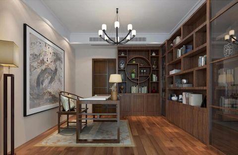 书房背景墙新中式风格装修设计图片