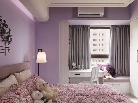 简洁紫色背景墙装修案例效果图