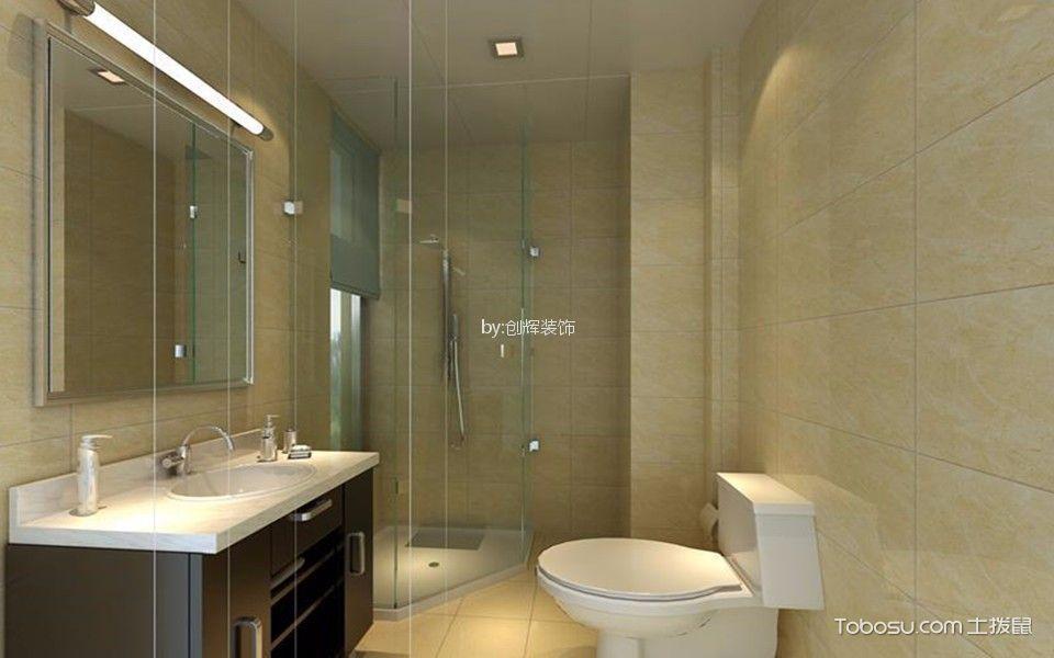 卫生间白色推拉门现代风格装潢设计图片