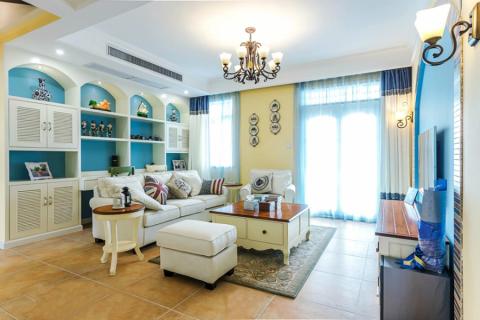 客厅飘窗地中海风格装修设计图片