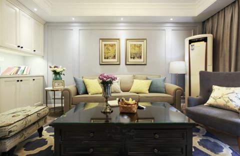 客厅背景墙美式风格装饰图片