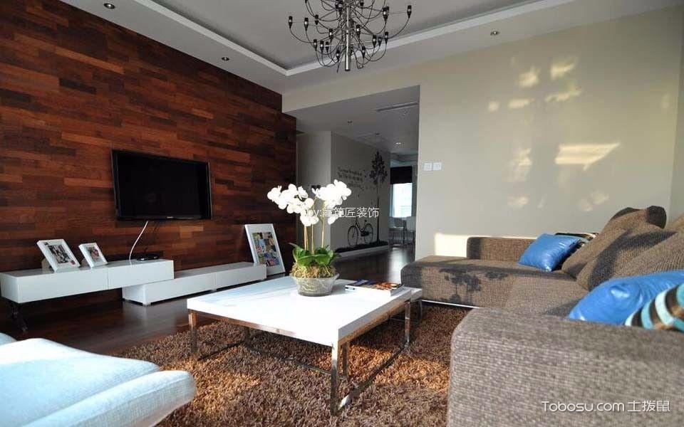 客厅 背景墙_120平三居室现代简约风格装修效果图