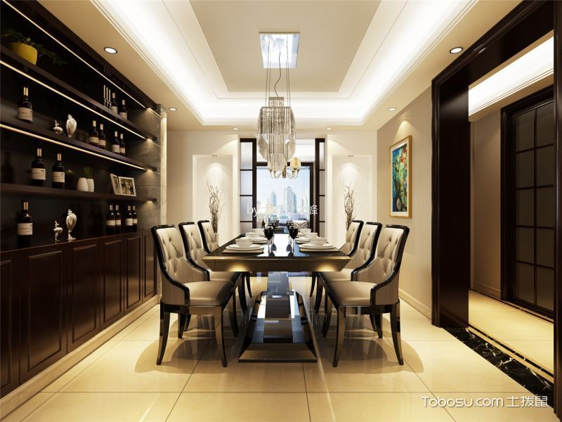 餐厅黄色地砖现代风格装潢图片