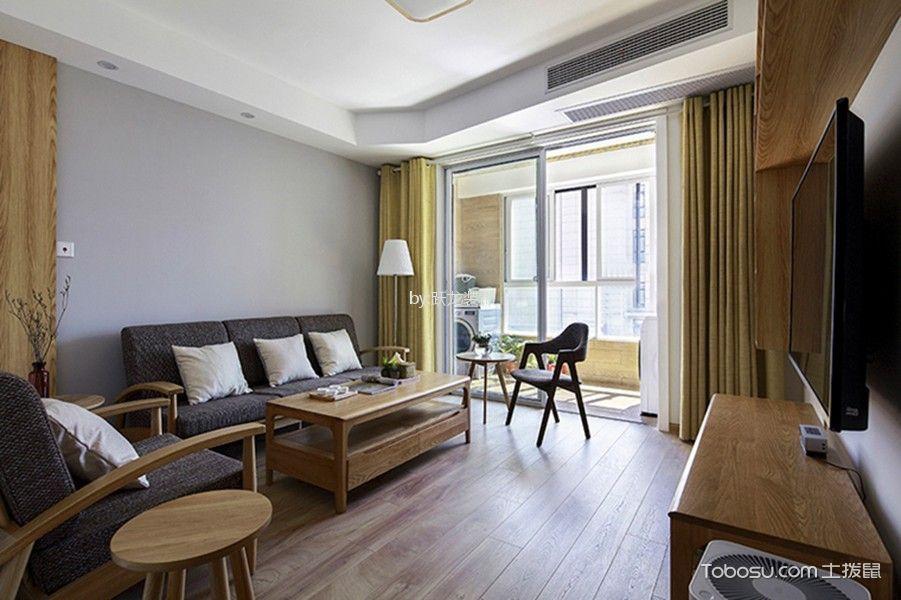 客厅白色推拉门日式风格装潢图片