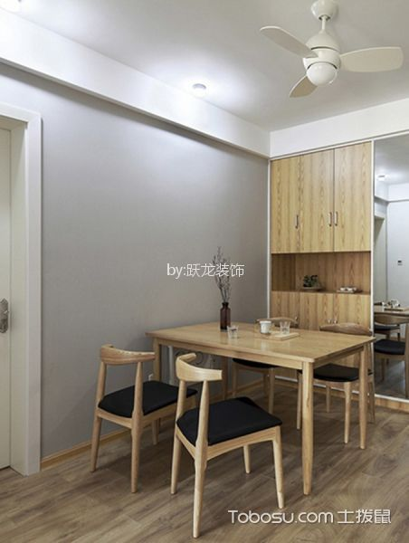 餐厅灰色背景墙日式风格装修设计图片