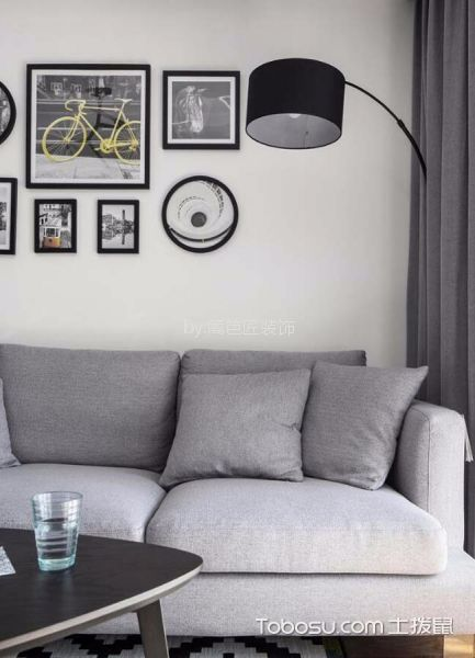 客厅灰色细节北欧风格装修图片