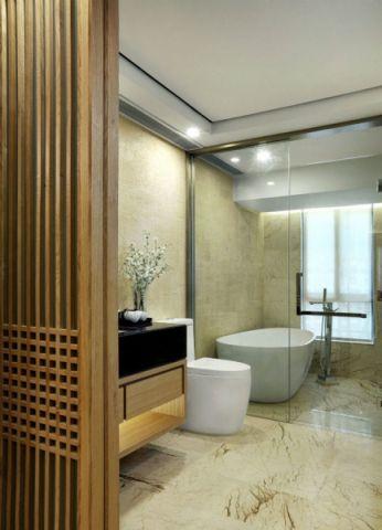 卫生间隔断新中式风格装潢效果图