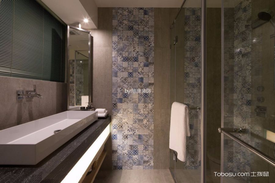 卫生间白色隔断混搭风格装饰设计图片