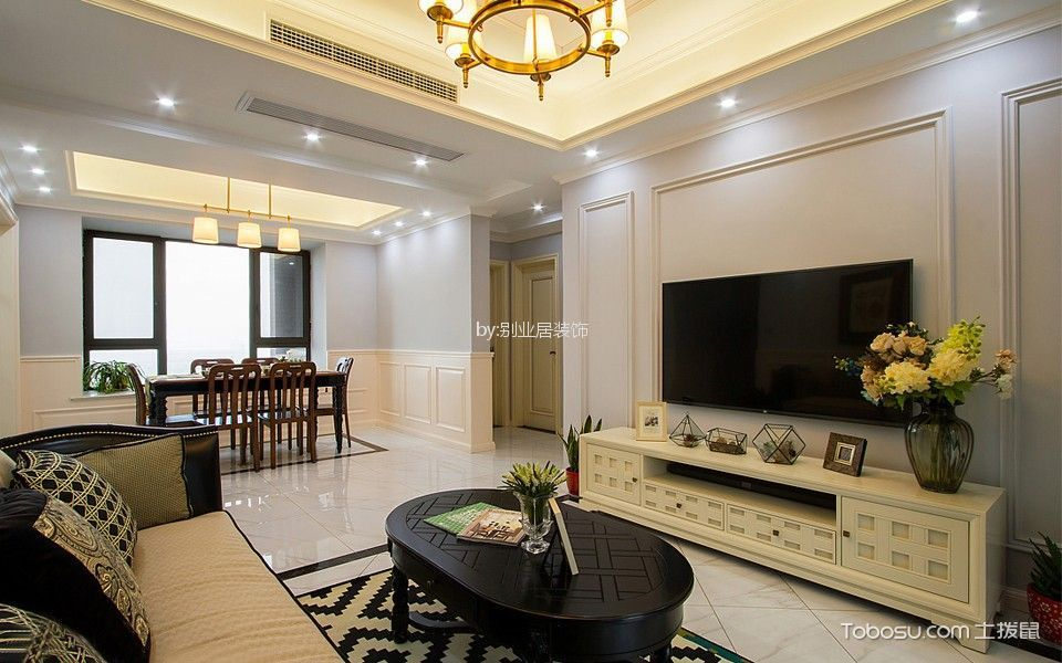 16.8万预算160平米三室两厅装修效果图