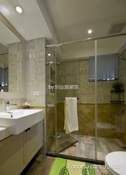 卫生间白色隔断混搭风格装饰图片