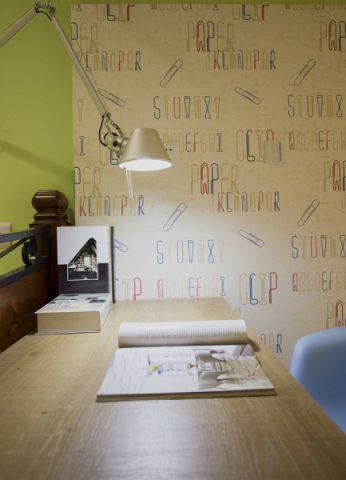 书房背景墙现代简约风格装修设计图片
