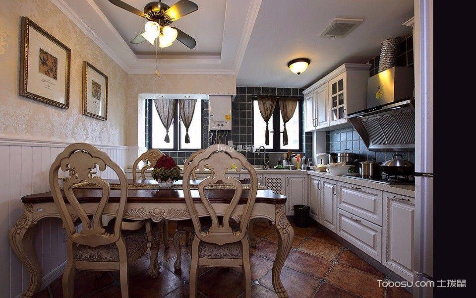 厨房咖啡色餐桌美式风格装修设计图片