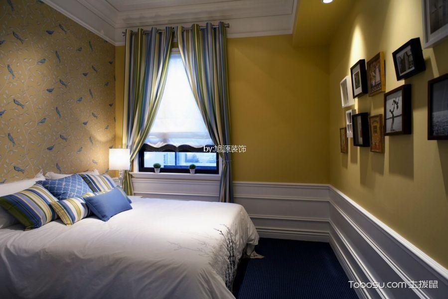卧室黄色照片墙现代风格装潢设计图片