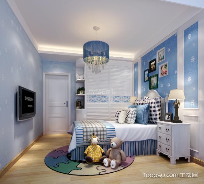 儿童房蓝色照片墙现代风格装修设计图片