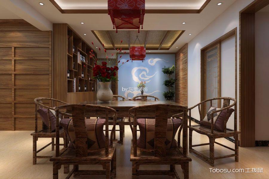 餐厅咖啡色博古架新中式风格装饰图片