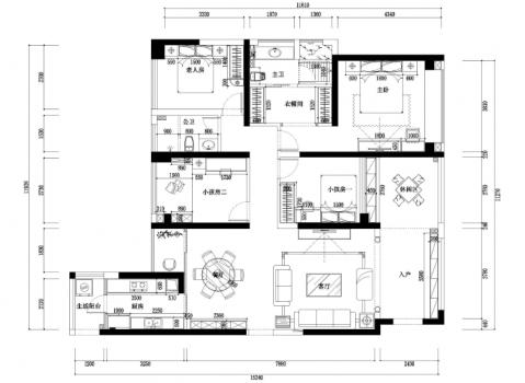 欧式风格四室两厅一厨二卫套房装修效果图