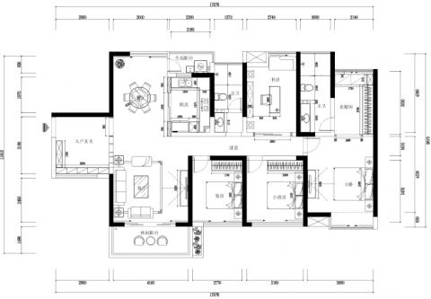 现代风格四室两厅一厨二卫装修效果图