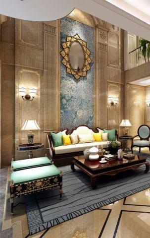 客厅背景墙法式风格装饰设计图片