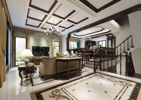 客厅楼梯美式风格装潢图片