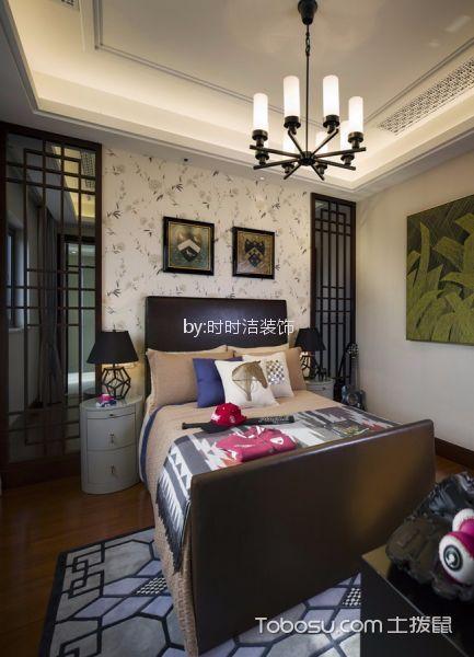 卧室咖啡色隔断混搭风格装修图片
