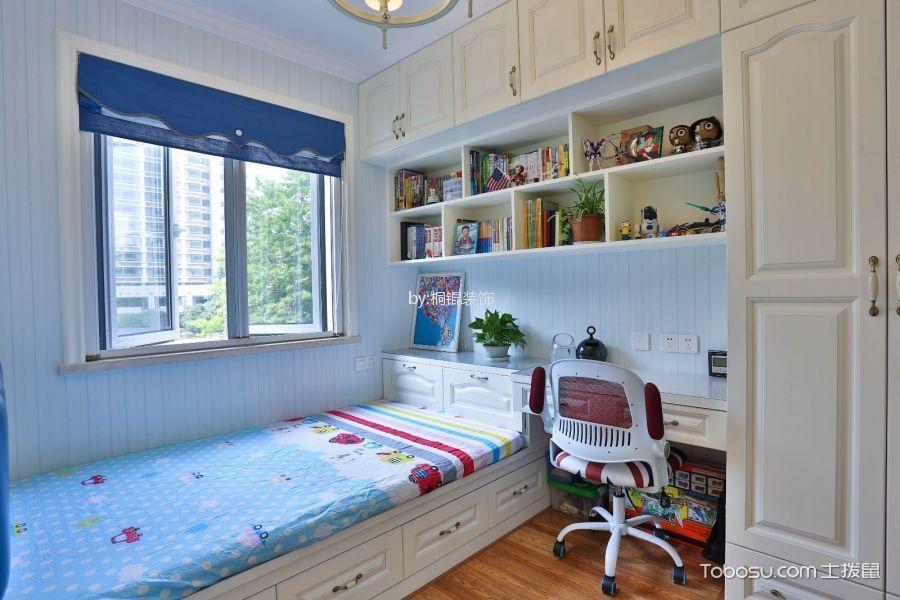 儿童房蓝色窗帘美式风格装潢效果图