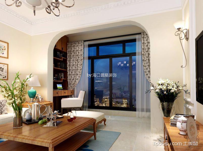 阳台彩色窗帘简欧风格装修设计图片