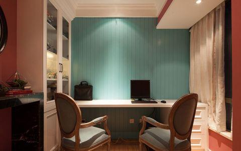 书房背景墙美式风格装潢效果图