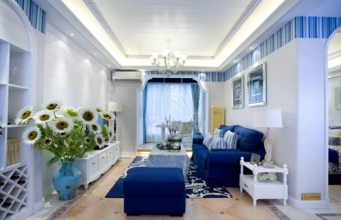 客厅背景墙地中海风格装修图片